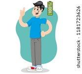 mascot bob man person  with 100 ... | Shutterstock .eps vector #1181723626