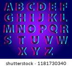 vector set of outline letters... | Shutterstock .eps vector #1181730340