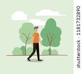 young man walking on the park | Shutterstock .eps vector #1181732890