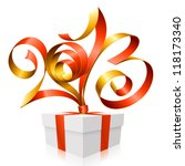 vector red and gold ribbon in... | Shutterstock .eps vector #118173340