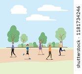 group of women walking on the... | Shutterstock .eps vector #1181734246