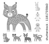 toy animals monochrome icons in ... | Shutterstock .eps vector #1181735860