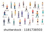 group of people walking and... | Shutterstock .eps vector #1181738503