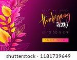 vector greeting thanksgiving... | Shutterstock .eps vector #1181739649