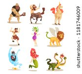 ancient mythical creatures set  ... | Shutterstock .eps vector #1181746009