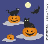 cats and pumpkins on clouds ... | Shutterstock .eps vector #1181747179