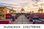 container ship in export and... | Shutterstock . vector #1181748466
