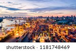 container ship in export and... | Shutterstock . vector #1181748469