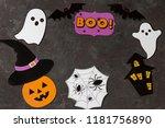 on a dark table a pumpkin in a... | Shutterstock . vector #1181756890