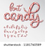 christmas candy cane lettering. ... | Shutterstock .eps vector #1181760589