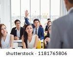 business man raising hand for... | Shutterstock . vector #1181765806