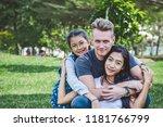 diversity family portrait at... | Shutterstock . vector #1181766799