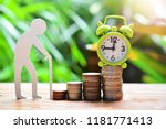 time running on money coins... | Shutterstock . vector #1181771413