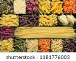 colorful dry pasta background | Shutterstock . vector #1181776003