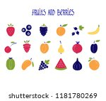 fruits and berries color icons...
