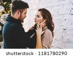 young caucasian man and woman... | Shutterstock . vector #1181780290