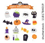 halloween element set. cute... | Shutterstock .eps vector #1181784019