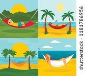 rest hammock banner set. flat...   Shutterstock .eps vector #1181786956