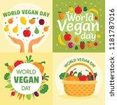 vegan day banner set. flat... | Shutterstock .eps vector #1181787016