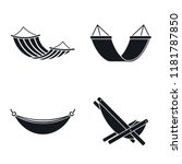 Relax Hammock Icon Set. Simple...
