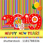 2019 happy new year greeting... | Shutterstock .eps vector #1181788336