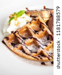 waffle with chocolate icecream... | Shutterstock . vector #1181788579