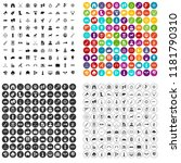 100 target icons set in 4... | Shutterstock . vector #1181790310