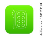 paint brush palette icon green...