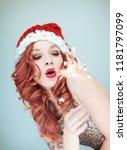 santas little helper. beautiful ...   Shutterstock . vector #1181797099