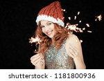 santas little helper. beautiful ...   Shutterstock . vector #1181800936