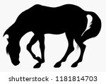 Black Silhouette Of Horse...