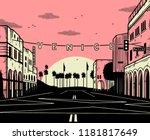 venice beach sun pink black... | Shutterstock . vector #1181817649