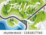 paper art of feel free... | Shutterstock .eps vector #1181817760