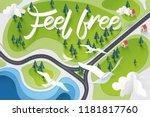 paper art of feel free... | Shutterstock .eps vector #1181817760