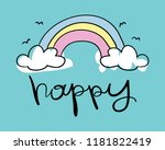 happy text and rainbow drawing  ... | Shutterstock .eps vector #1181822419