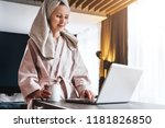 young woman in bathrobe and... | Shutterstock . vector #1181826850