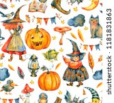 watercolor halloween party... | Shutterstock . vector #1181831863