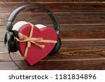 headphones and heart shaped... | Shutterstock . vector #1181834896