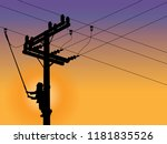 Silhouette Power Linesman Clim...