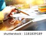 businesswoman working with... | Shutterstock . vector #1181839189