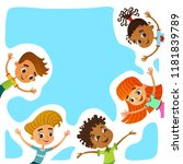 children near paper. template... | Shutterstock .eps vector #1181839789