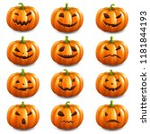 pumpkin set isolated with... | Shutterstock .eps vector #1181844193