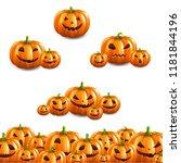 pumpkin border set white... | Shutterstock .eps vector #1181844196