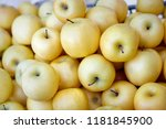 pile of yellow apples on the... | Shutterstock . vector #1181845900