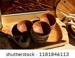 kazakh ethnic wooden utensils... | Shutterstock . vector #1181846113