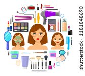 colorful tools for makeup and...   Shutterstock .eps vector #1181848690