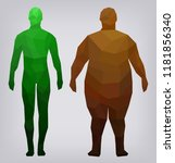 man thin thick health facets... | Shutterstock .eps vector #1181856340