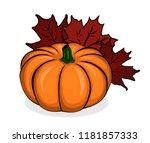 autumn composition  pumpkin... | Shutterstock .eps vector #1181857333