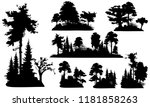 set of forest tree silhouettes... | Shutterstock .eps vector #1181858263