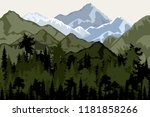 mountain landscape with forest...   Shutterstock .eps vector #1181858266
